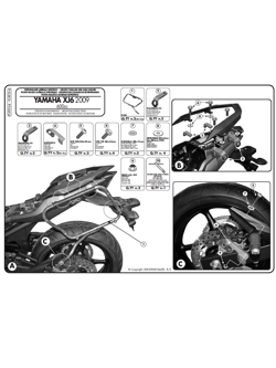 Rapid release side case holder for V35 MONOKEY® SIDE for Yamaha XJ6 / XJ6 Diversion / XJ6 Diversion F 600 (09 > 14)