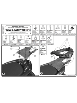 Rear rack for MONOKEY® top case Yamaha Majesty 400 (04 -14)