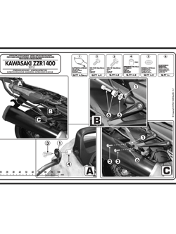 Specific holder for Easylock side bags, or soft side bags Kawasaki ZZR 1400 (12>18)