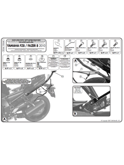 Specific holder for Easylock side bags, or soft side bags Yamaha FZ8 / Fazer 8 800 (10 > 16)