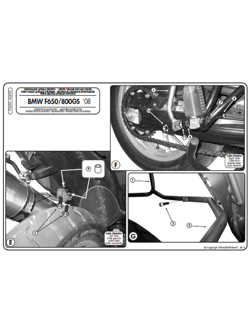 Specific pannier holder for MONOKEY® side cases for BMW F650 GS /  F 700 G/ F800 GS (08 > 11)