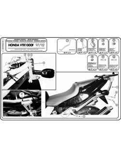 Specific rear rack for MONOKEY® or MONOLOCK® top case Honda VTR 1000 F 97-04