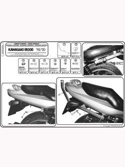 Specific rear rack for MONOKEY® or MONOLOCK® top case Kawasaki ER 5 500 98 > 00